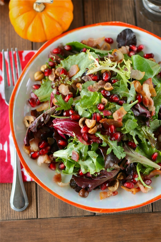 Pomegranate Hazelnut Holiday Salad W/ Maple Bacon Dressing