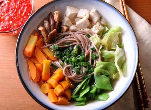 ... of food: Soba noodles with mushroom-ginger broth, vegetables, and tofu