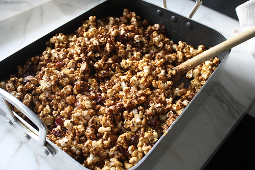 chocolate caramel corn with cranberries and almonds