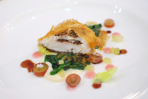 petrale sole, wrapped in feuille de brik, nicoise olive, celery root, grape, spinach, verjus2