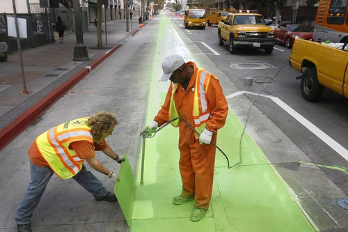 Painting a bicycle lane green