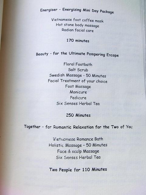 """Six Senses Spa """"treatment menu"""" 8"""