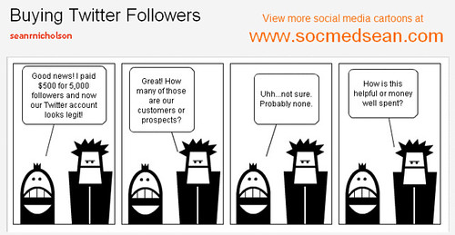 Social media cartoon comic - Buying Twitter Followers