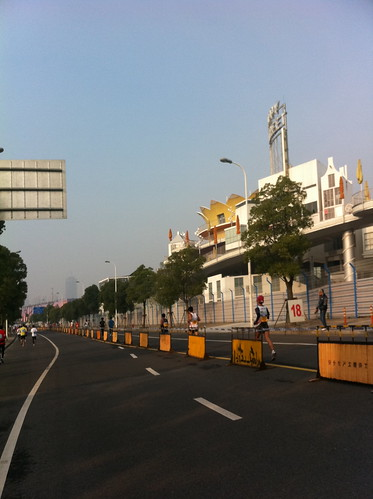 Expo 2011 grounds, Dutch pavilllion is still standing (yellow crown building)