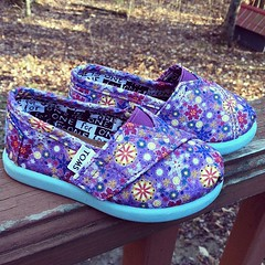Brynn's new tiny Toms. Holy adorable.