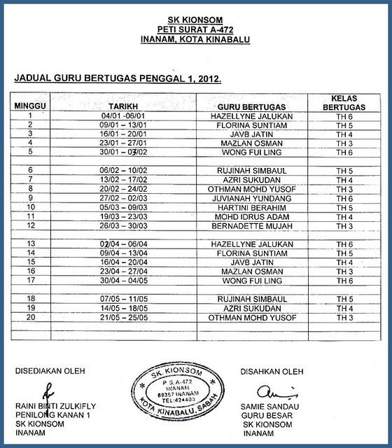 JADUAL WAKTU PERSEKOLAHAN FASA 2 / 2012