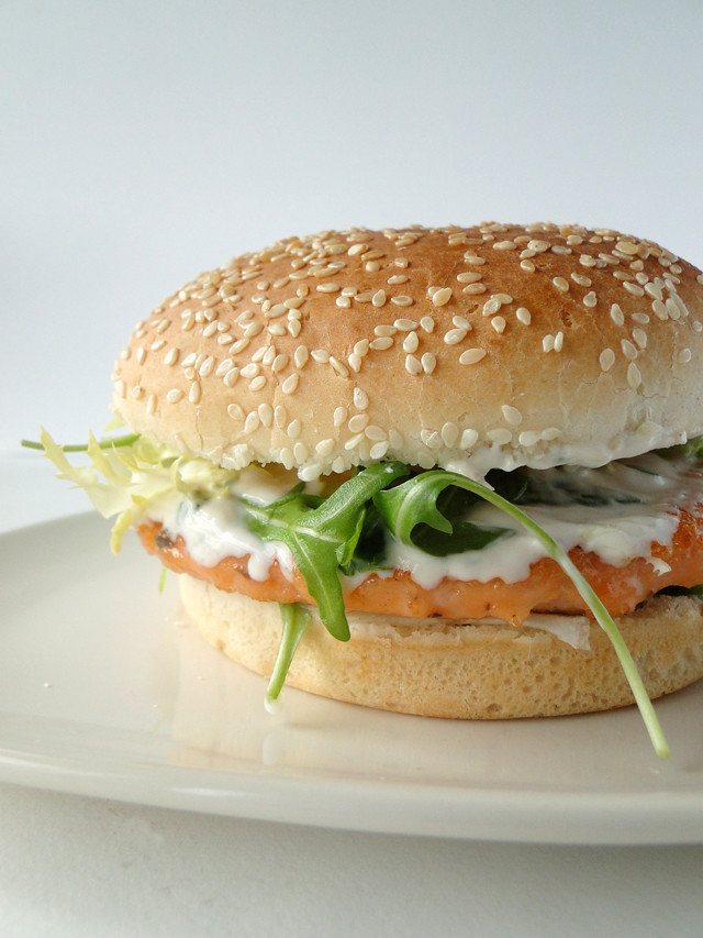 Salmon Burgers With Green Yogurt Sauce Recipes — Dishmaps