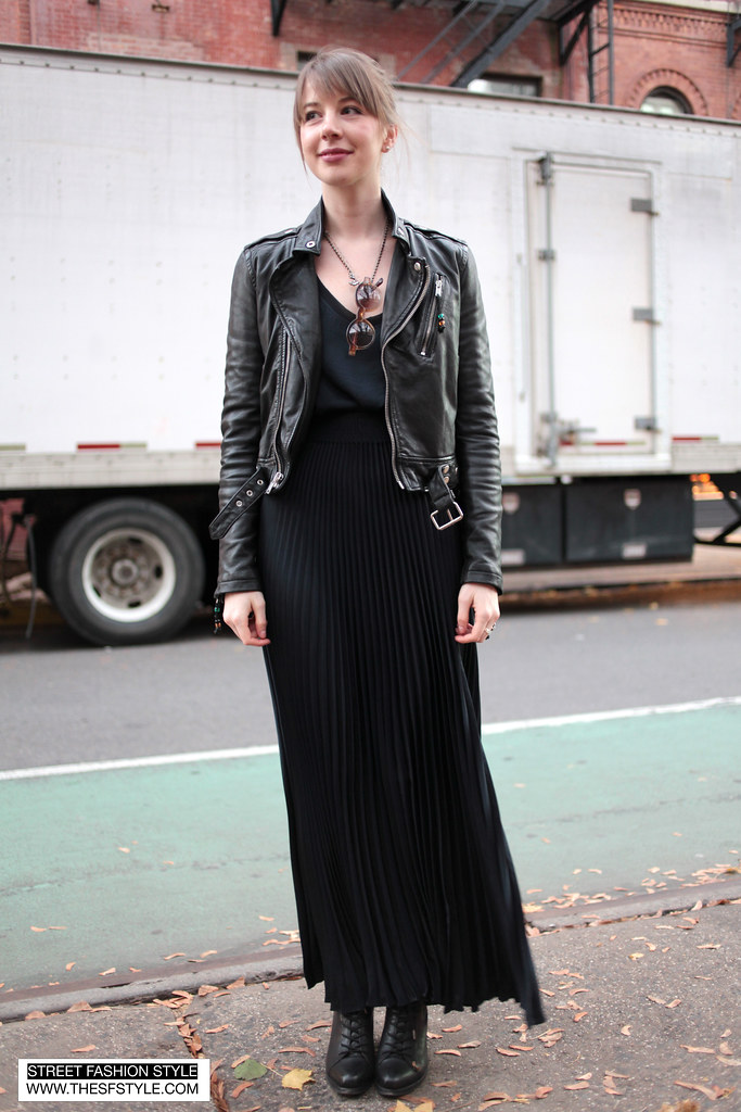 IMG_6534 copy BLK DNM leather jacket Rebecca Taylor pleated maxi skirt street fashion style new york nyc