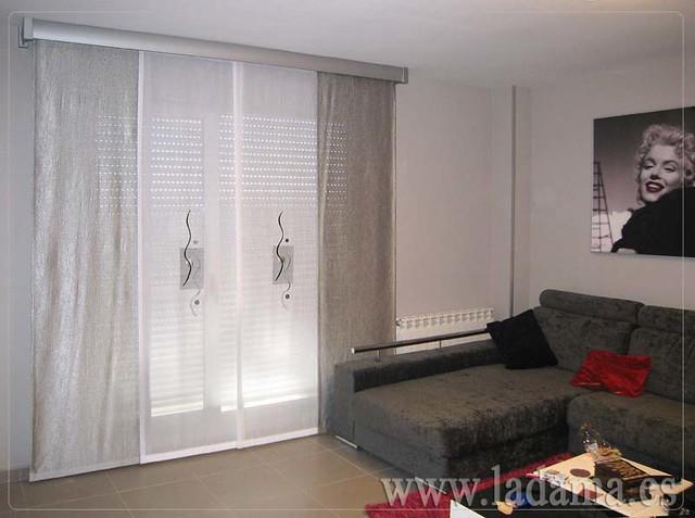 Decoraci n para salones modernos cortinas paneles - Cortinas estores enrollables ...