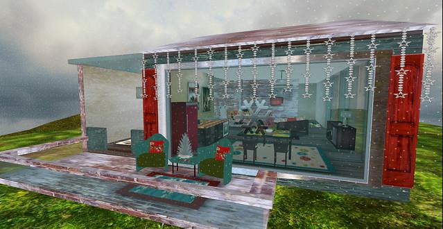 Retro Holiday Christmas Cabin
