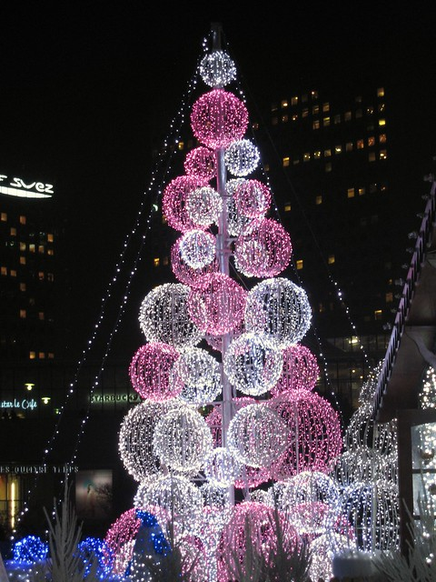 Innovative Christmas tree at Village de Noël, La Défense, Paris