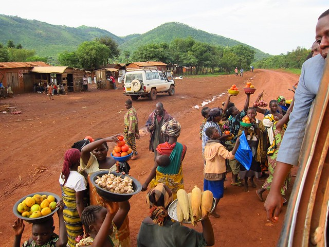 Buying Fruit and Corn Out of the Bus in Western Tanzania