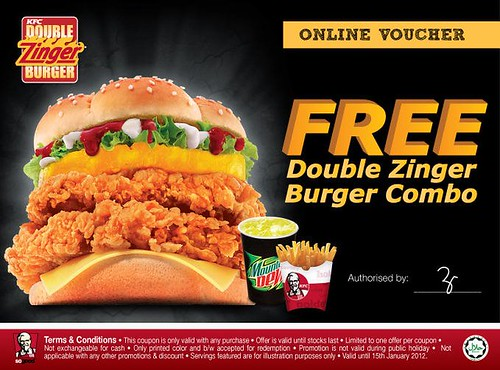 FREE KFC Double Zinger Burger Combo Vouchers Ended?