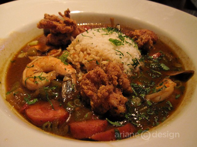 Gumbo with prawns, chicken, Andouille sausage