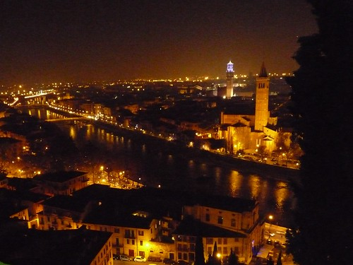 Night view of Verona from Torricelle hill