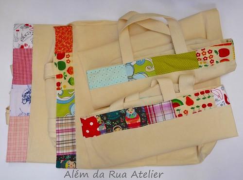 sacolas com borda de tecido
