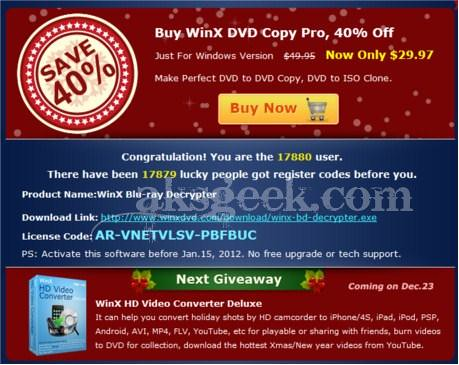 WinX Blu-ray Decrypter License key