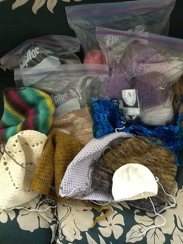 Hats in the 'to finish' pile