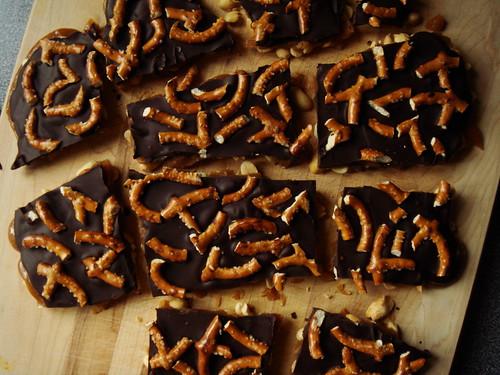 Peanut Brittle with Chocolate & Pretzel
