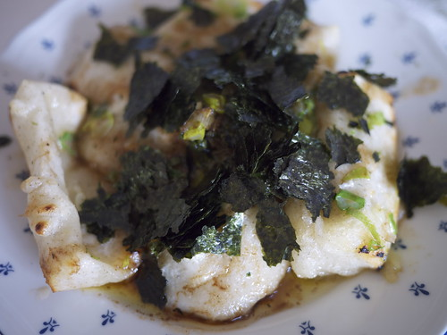 Mochi with brown butter, green onions and nori