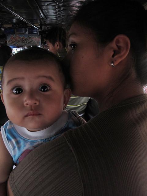 mother and baby at marikina-cubao jeep