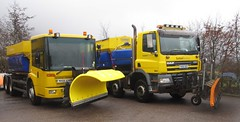 Mercedes Econic and DAF CF snow ploughs