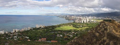 Waikiki seen from Diamond Head, O'ahu, Hawai'i (panorama)