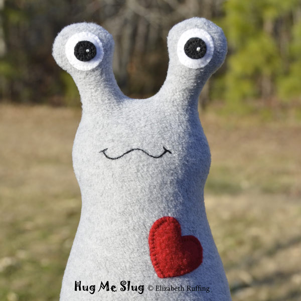 Gray Fleece Hug Me Slug, original art toys by Elizabeth Ruffing