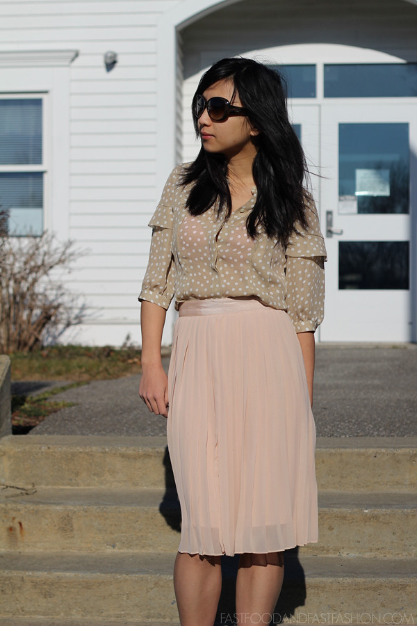 ann taylor top club monaco pleated skirt