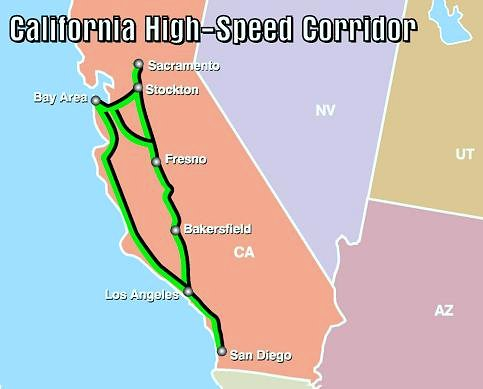planned routes for HSP in California (via US DOT)