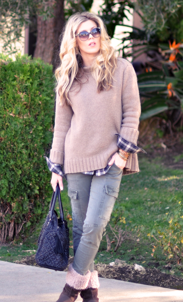 a casual outfit-cashmere and crocs