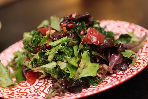 Kale Salad with Blood Orange, Pomegranate, Currants, Dried Figs, and Toasted Cashews