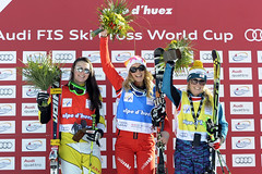 Marielle Thompson with her second World Cup podium of the season in Alpe d'Huez World Cup ski cross.