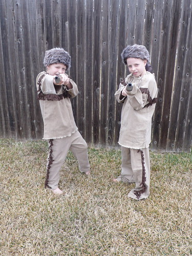 Sparky and Max trying out their new Davy Crockett costumes