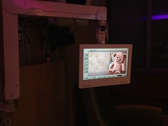 Amplatz tour kids can control every aspect of the room via touch screen on swing arm over bed