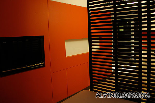TV and moveable partitions to separate the bed area