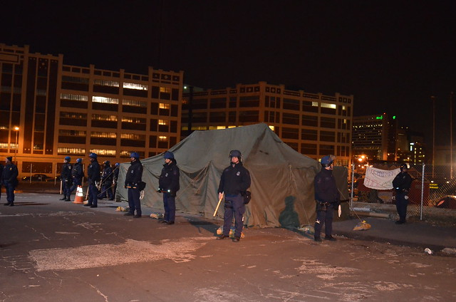 Riot Police to remove tent
