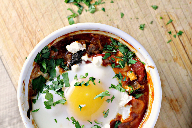 Poached Eggs in Tomato Sauce with Chickpeas, Feta and ...