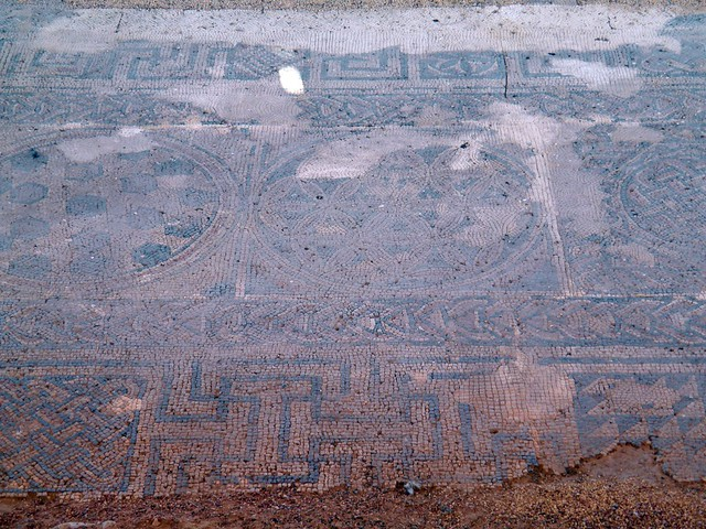 Basílica Cristiana (Christian Church), Polychrome mosaic with Greek signs, Ilici, the Alcudia archaeological site (Elche, Spain)