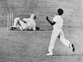 Eddie Gilbert bowling to Sir Donald Bradman during a New South Wales versus Queensland cricket match, 1931