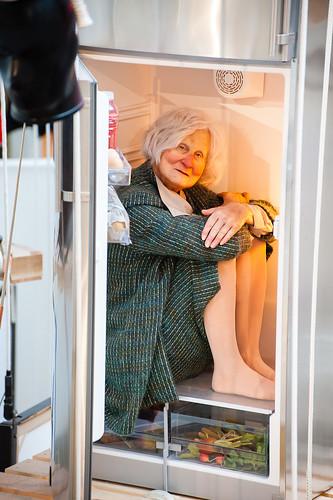 Maurizio Cattelan - Betsy, Woman in Refrigerator by eveningsongserenade