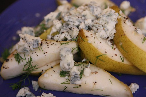 D'Anjoy Pears with Fennel Fronds, Cracked Black Pepper, and Gorgonzola Mountain