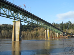 The Sellwood bridge under a sunny January sky