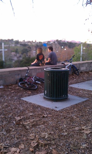 Kids looking out over creation at Arroyo Dr. and the 110 freeway
