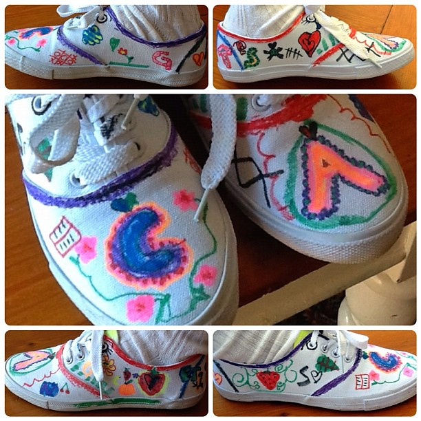 My 8 year-old daughter's new original tread! #shoes #handdrawn