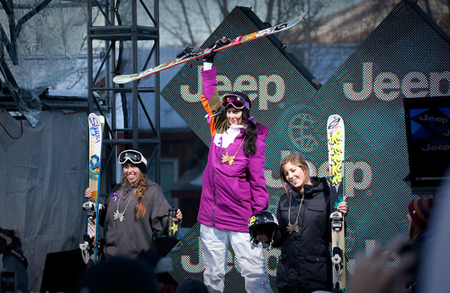 Women's skiing Superpipe podium