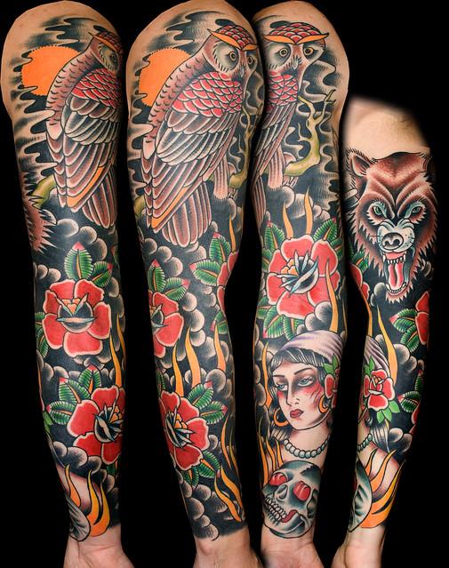 Owl Sleeve tattoo myke chambers | Flickr - Photo Sharing!