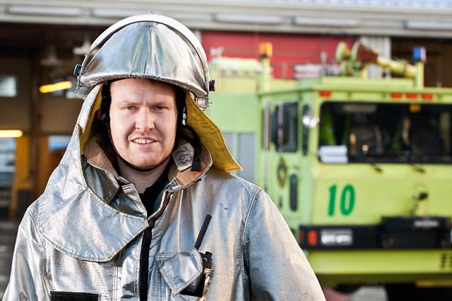 Fireman at Reykjavik airport.