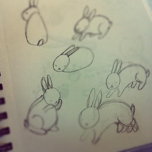 Bunny pose drawings.