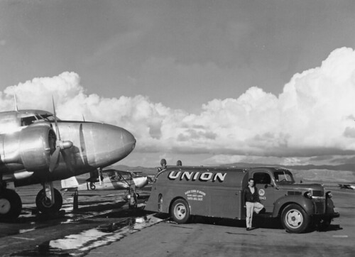 Martin Aviation fuel truck, Orange County Airport, 1950s